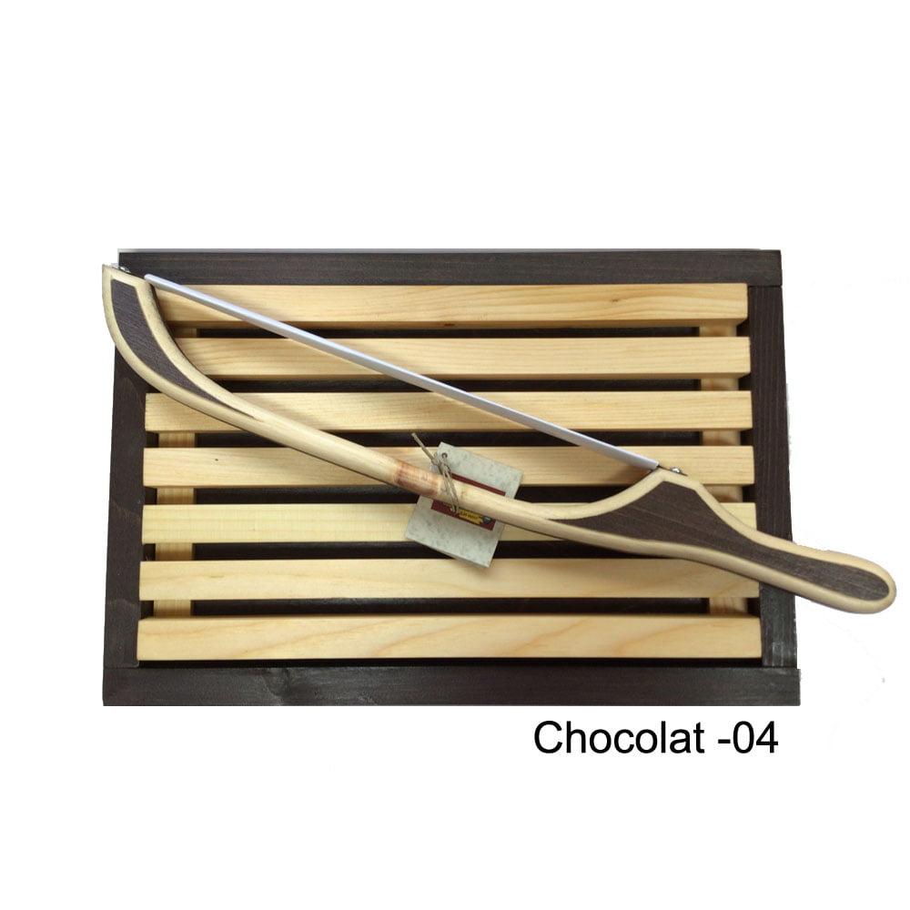 Planche ramasse miette et scie à pain couleur chocolat